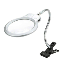 Multifunctional Desk Clip-on Magnifier with LED Light Metal Reading Loupe  Adjustable Desktop LED Lamp Magnifying Glass