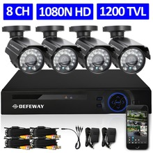 DEFEWAY 8CH CCTV System 1200TVL CCTV Camera Home Security Video Surveillance Kit 720P AHD DVR HD 720P Outdoor Indoor Camera