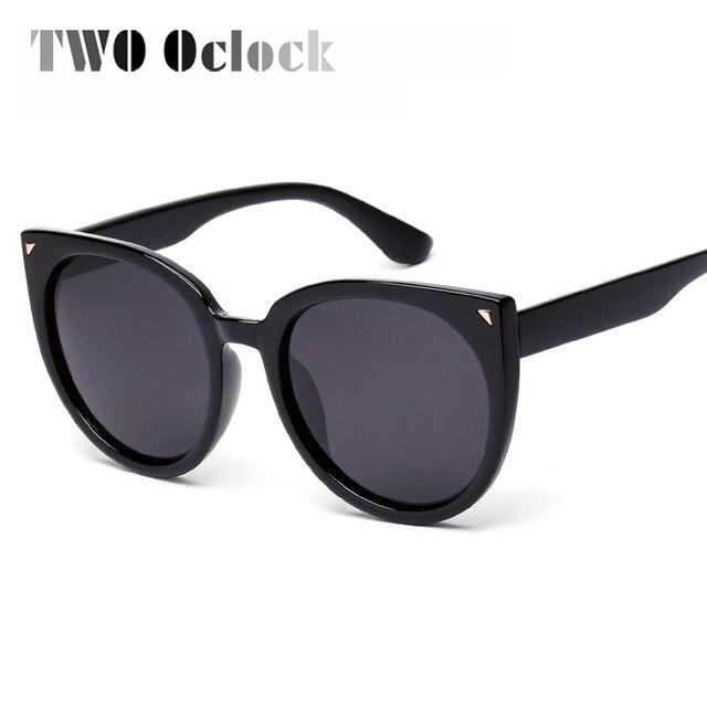 18cc0cfcfb6 TWO Oclock Vintage Cateye Polarized Sunglasses Women Oversized Big Frame Sun  Glasses Driver Eyewear Black Shades lunettes 6084
