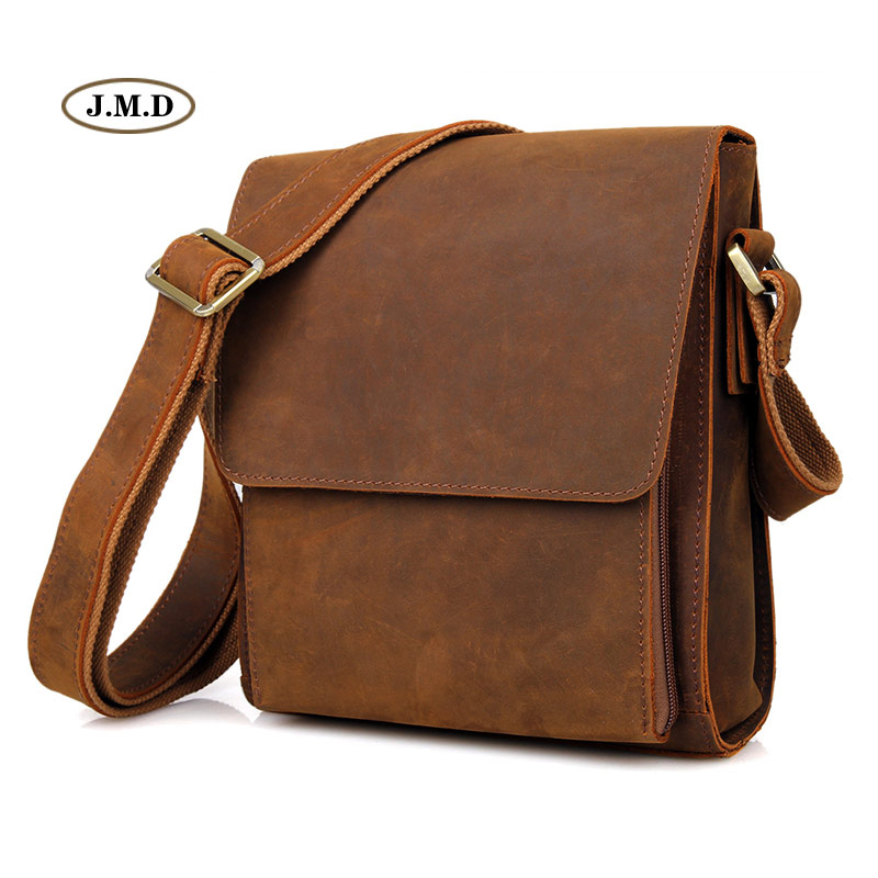 Здесь можно купить  J.M.D Hot Selling Genuine Leather Brown Simple Design Flap Cover Crossbody Bag Shoulder Bag Messenger Bag 7055B-1  Камера и Сумки