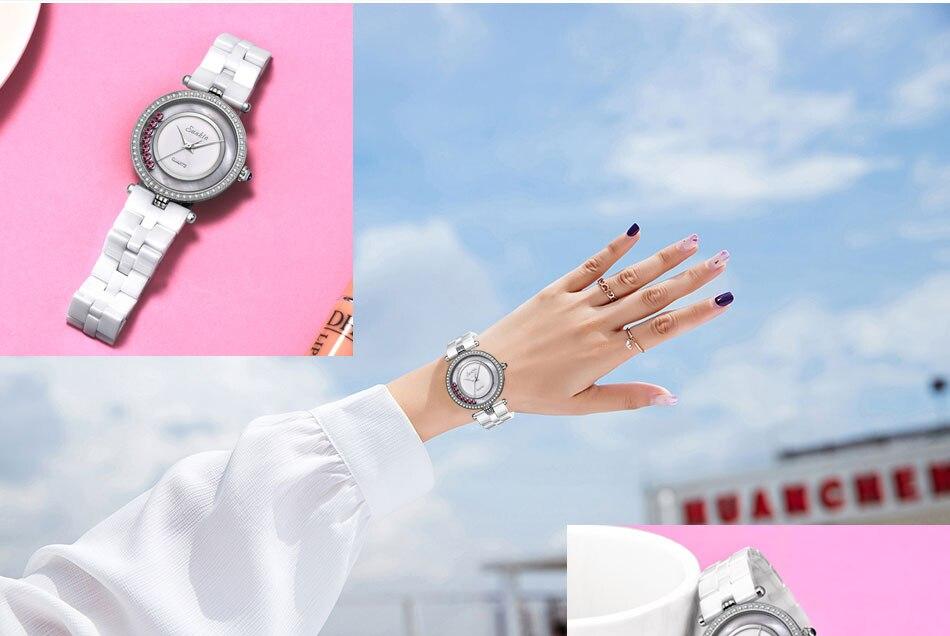 Sunkta cerâmica relógio feminino marca de luxo