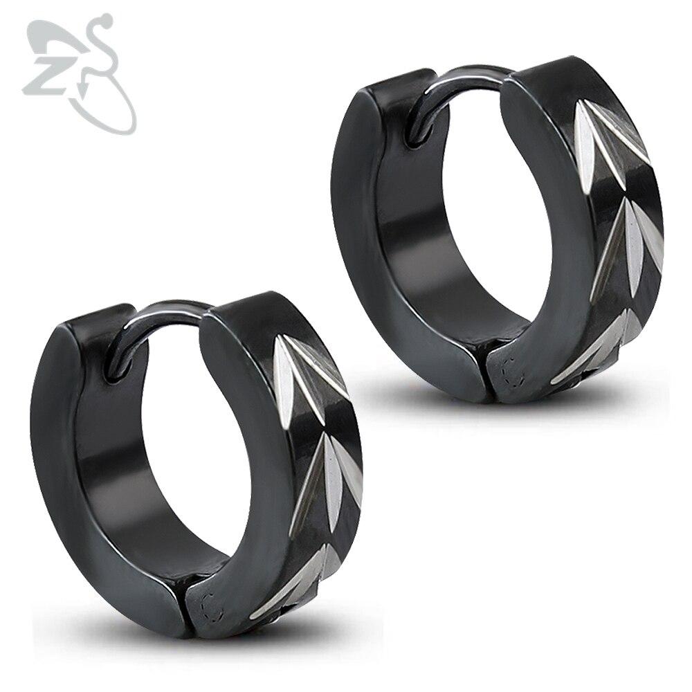 Серьги-кольца Нержавеющаясталь пирсинг обручи черные логотип мужские серьги хип-хоп мочку уха серьги черное покрытие 4*9 мм 2 пары