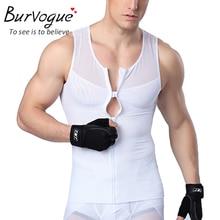 Burvogue мужчины жилет молния Body Shaper Жилет Корректирующее белье для похудения Пояс Управление Shaper Корректирующее белье жилет для мужчин