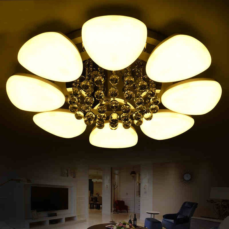 Modern Crystal Led Ceiling Lights Heads Turn Free Living Dining Room