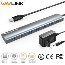 5V/4A 전원 어댑터가있는 초고속 7 포트 USB 3.0 알루미늄 허브 USB 분배기 허브 3.0 Microsoft Windows MAC OS Wavlink 지원