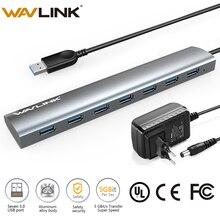 سوبر السرعة 7 Port USB 3.0 الألومنيوم محور مع 5 فولت/4A محول الطاقة USB الفاصل محور 3.0 يدعم مايكروسوفت ويندوز ماك OS Wavlink