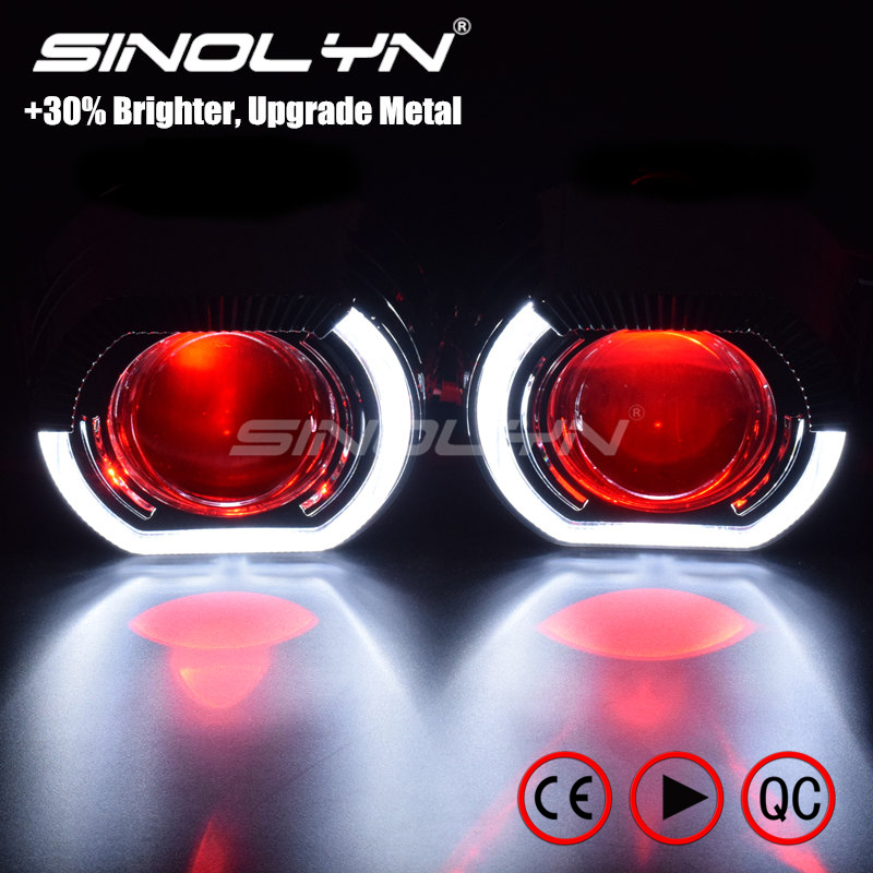 Sinolyn LED Running Lights Angel Eyes HID Bi xenon Projector Lenses for Headlights H4 H7 Car Retrofit Headlamp Lens Devil Eyes new m803 2 5 car motorcycle universal headlights hid bi xenon projector kit and m803 hid projector lens for free shipping