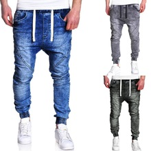 MoneRffi nuevo Harem hombre Joggers pantalones vaqueros pantalones de moda  2018 sólido básico cintura elástica Pantalones ece2e2ac489