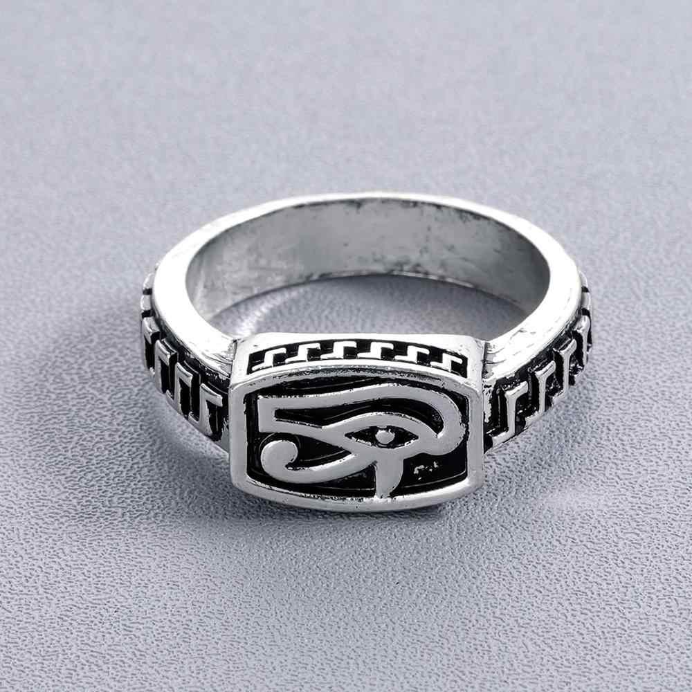 Chereda olho de horus anel feito à mão do vintage anéis de polegar para homem único legal barra jóias diário masculino acessórios 2019 venda quente
