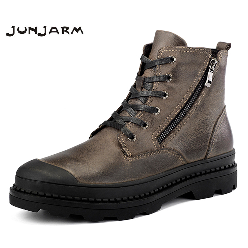 JUNJARM 100% Genuine Leather Motocycle Boots Mens Winter Shoes High Quality Men Ankle Boots Warm Men Snow Boots Big Size 38-47 big size 38 47 men boots genuine leather winter boots shoes men warm furry boots men fashion ankle snow boots for men hh 049