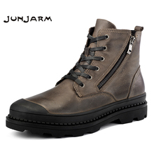 JUNJARM 100% Genuine Leather Motocycle Boots Mens Winter Shoes High Quality Men Ankle Boots Warm Men Snow Boots Big Size 38-47
