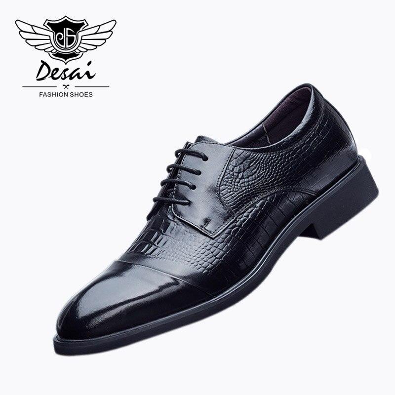 1 Para Männer Echte Leder Schuhe Casual Spitz Business Kleid Schuhe Herbst Mode Britischen Krokodil Muster Schuhe BüGeln Nicht