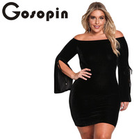 Gosopin Jurk Plus Size Zwart Off Schouder Elegante Lange Flare Bell Mouwen Mode Herfst Sexy Party Bodycon Mini Jurken 220230
