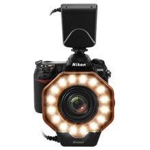 Anel macro iluminado com led, para câmeras canon markiii, nikon, olympus, pentax, slr, lente de diâmetro de 52/55/58/62/72/77mm