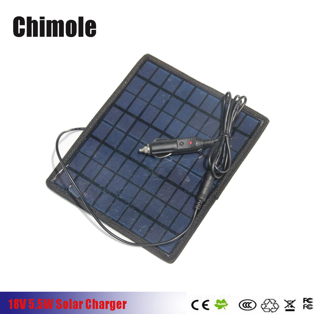 10pcs/lot 5W 18V/5V Portable Solar Panel Multi-Purpose For 12V Battery Charger Solar Battery Pane Charger With Car Charger