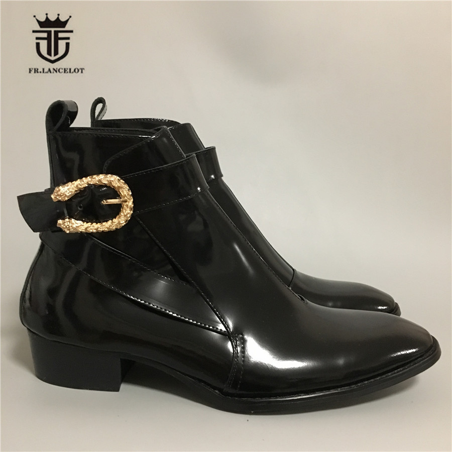 Real Picture Handmade Skull rivet buckle strap patent leather Luxury  Men Wedge Ankle Boots Pointed Toe Vintage Wyatte BootsReal Picture Handmade Skull rivet buckle strap patent leather Luxury  Men Wedge Ankle Boots Pointed Toe Vintage Wyatte Boots