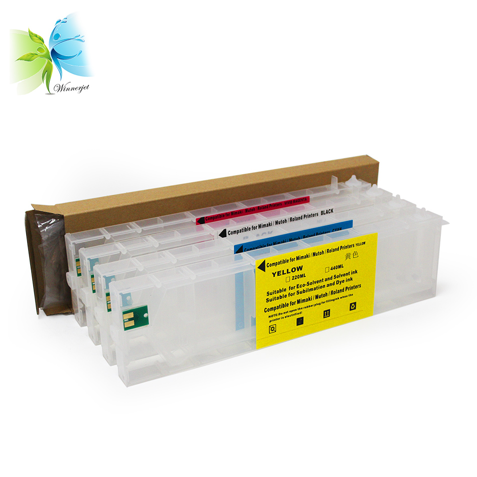 WINNERJET 440ml 4 Colors Empty Refillable Ink Cartridge With Permanent Chip For Roland RS640 RS540 Printer