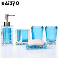 BAISPO 5 PCS Crystal Bathroom Accessory Set Toothbrush Holder Lotion Bottle Creative Suite Bathroom Acrylic Ware