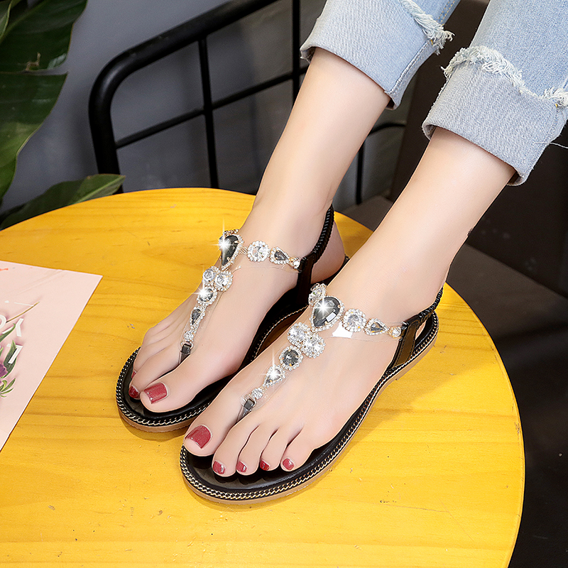 c8e9ab36605a Women crystal flat Roman elastic band Sandals Shoes Woman Casual quality  Cross Strap Ethnic Flip Flop Flat Sandals Ms.Noki