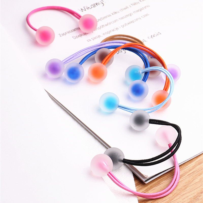 2pcs/lot New Colorful Acrylic Ball Shape Elastic Hair Bands For Girls Ponytail Holder Cute Rubber Band Kids Hair Accessories
