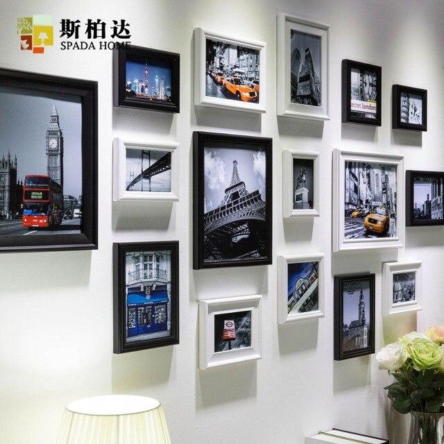 16pcs Modern Art Love Family Wooden Photo Frames Set Wall Clock