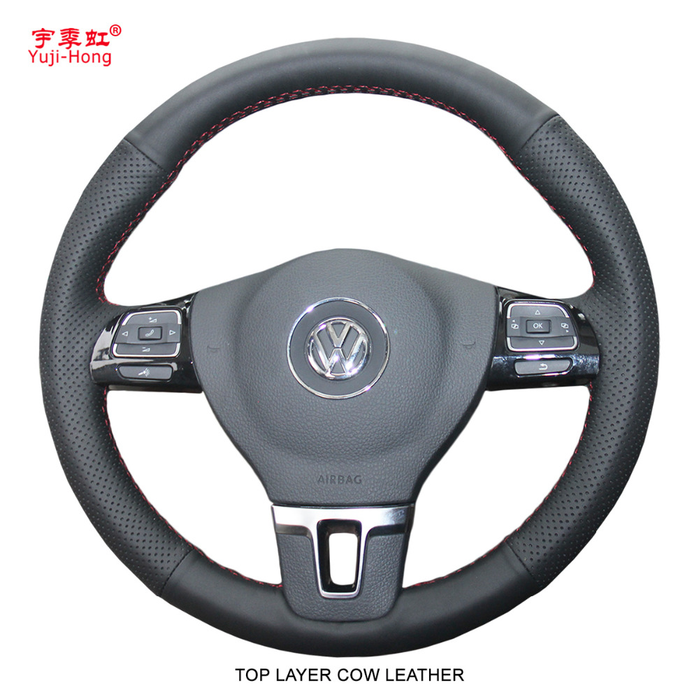 Yuji-Hong Car Steering Wheel Covers Case for Volkswagen VW CC Golf 6 Tiguan Passat Touran Magotan Top Layer Genuine Cow Leather стоимость