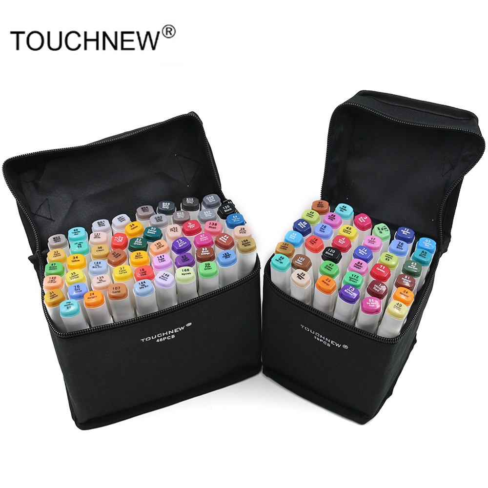 TOUCHNEW 80 Colors Dual Headed Sketch Markers Pen Oily Alcohol Painting Manga Art Marker Set Stationery Pen For School Drawing