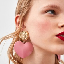 Girlgo 2018 Cute Pink Heart Statement Dangle Earrings For Women Fashion Brand Pendientes Drop Earrings ZA Charm Jewelry Bijoux(China)