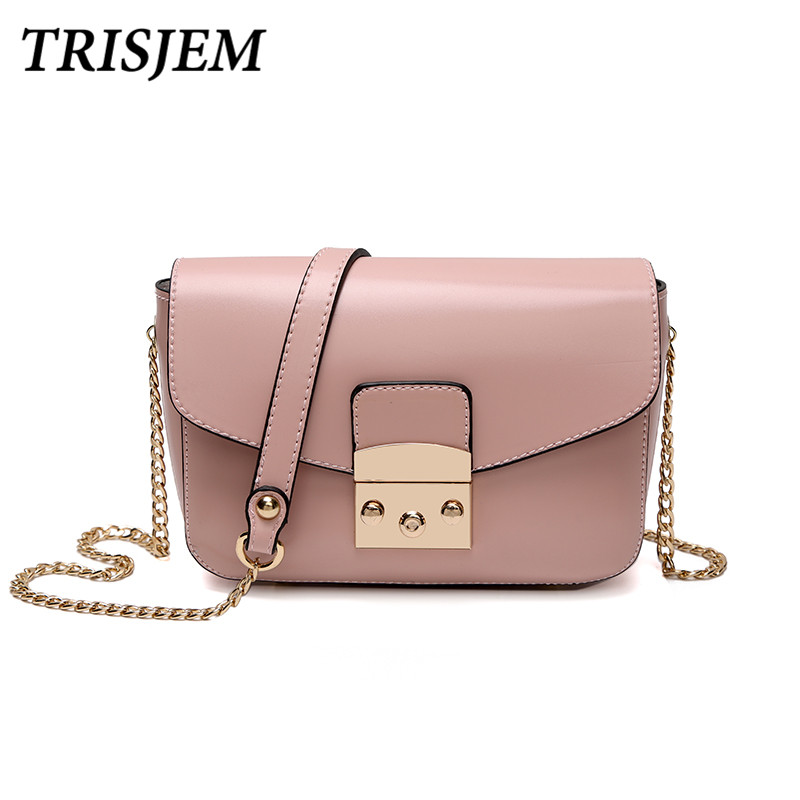 TRISJEM luxury design pink women messenger bags mini chain chic autumn crossbody bag lock ladies hand bag green/blue/brown/red lignt brown stitching design crossbody bags