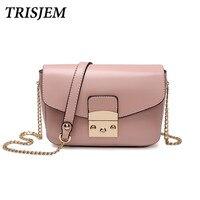 TRISJEM thiết kế sang trọng hồng phụ nữ messenger túi mini chuỗi chic mùa thu crossbody túi nữ khóa hand bag xanh/blue/nâu/đ