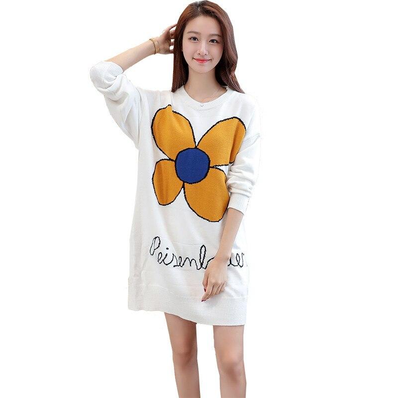 Новинка весны для женщин свитер пуловеры для повседневное теплые модные длинные дизайн женский вязаный Пуловеры с кошками - Цвет: Белый