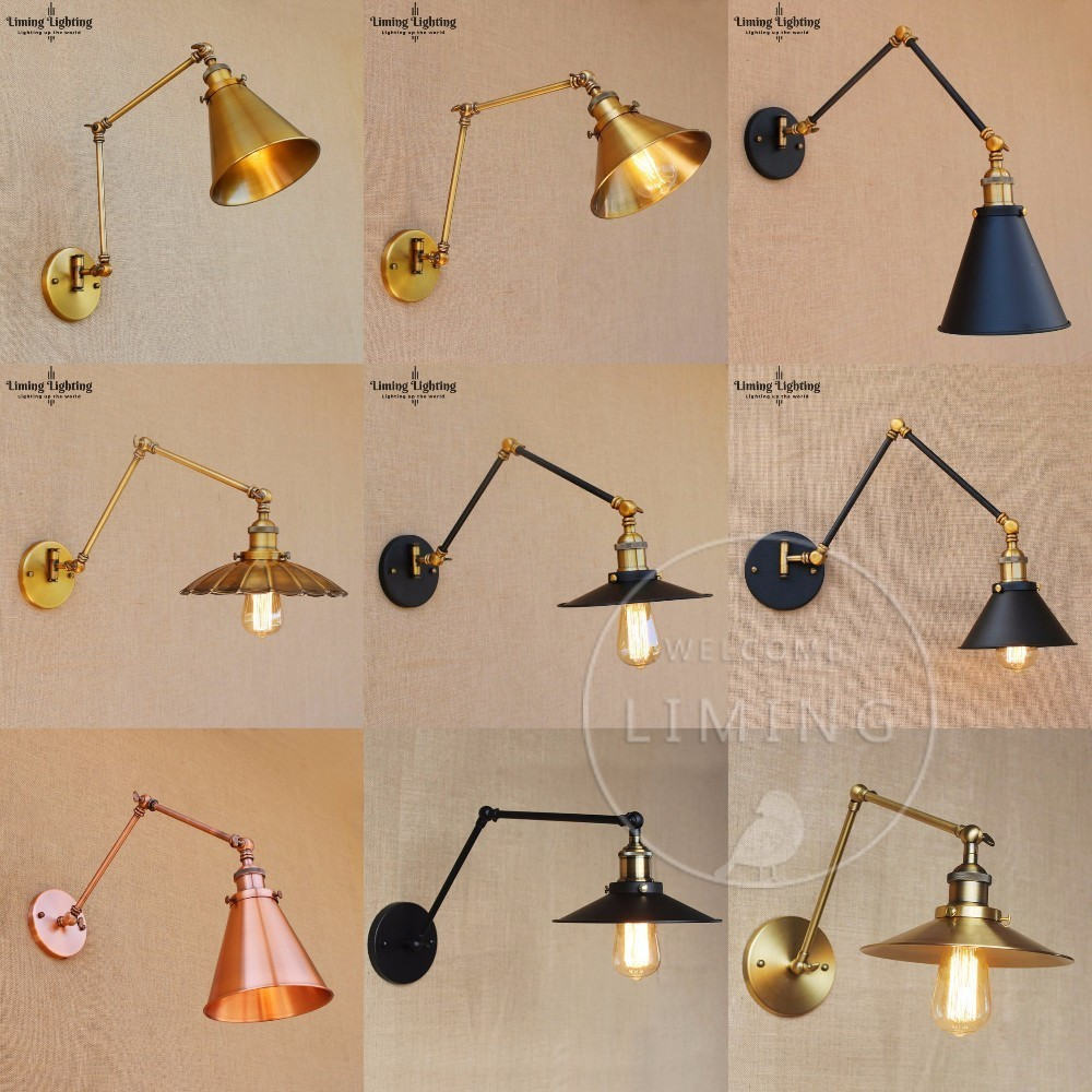 Modern Vintage Loft Adjustable Industrial Metal Wall Light Retro Swing Arm Brass LED Wall Lamp Country