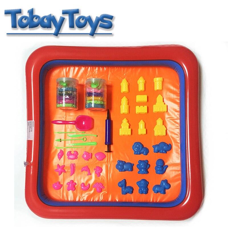 Coloré gonflable plateau de sable en plastique Mobile Table jouer pâte moule outils ensemble enfants intérieur sable jouet drôle polymère argile plage jouet