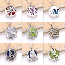 Tree Of Life Silver Aroma Box Diffuser Necklace Magnetic Aromatherapy Essential Oil Perfume Locket Pendant Jewelry