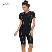 Diwish Women One Piece Rash Guard 2019 Plus Size Zipper Short Sleeved UV Protection Quick Dry Surfing Bathing Suit Swimwear