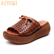 AIYUQI Slippers for women 2021 new women slippers genuine leather platform casual bow retro women slippers open toe sandals shoe