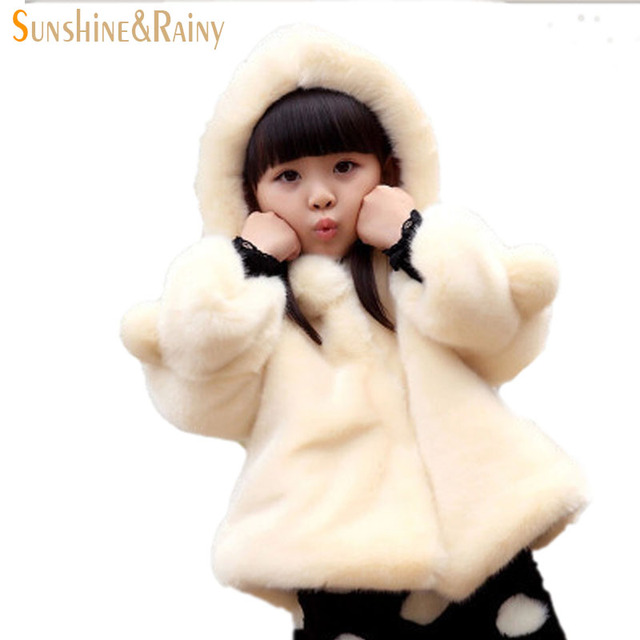 New Arrival Princess Teenage Girls Winter Coat Faux Fur Girls Coats Clothes Hooded Plus Villus Thickened Warm Outerwear For Girl