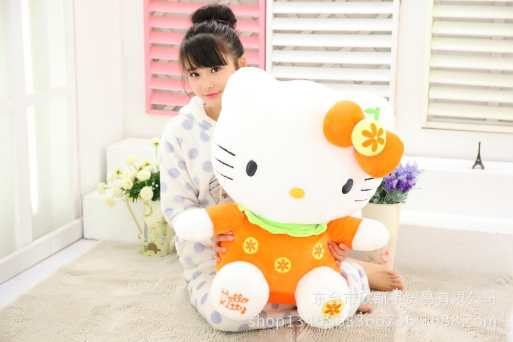 high quality large hello kitty plush toy 60cm fruit orange kitty,cat doll ,soft throw pillow birthday gift w5343 20cm high quality hello kitty plush toys hug pillow fruit kt cat stuffed dolls for girls kids toys gift mini animal plush doll