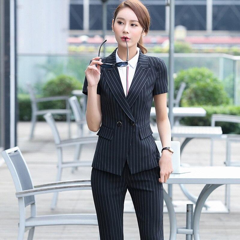 a91db0ca2d5b QBK DPU marchi di abbigliamento di affari OL ufficio a righe blazer donne  vestiti 2017 Doppio Petto stile Nero ufficiale uniforme vestiti in QBK DPU  marchi ...