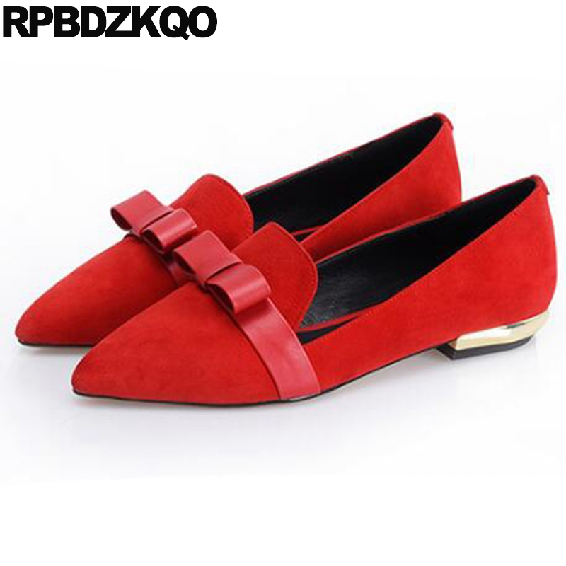 Chinese Flats China Wedding Shoes Slip On Footwear Suede Ladies Red Women Pointed Toe Bow Latest Fashion European Spring Autumn new 2017 spring summer women shoes pointed toe high quality brand fashion womens flats ladies plus size 41 sweet flock t179