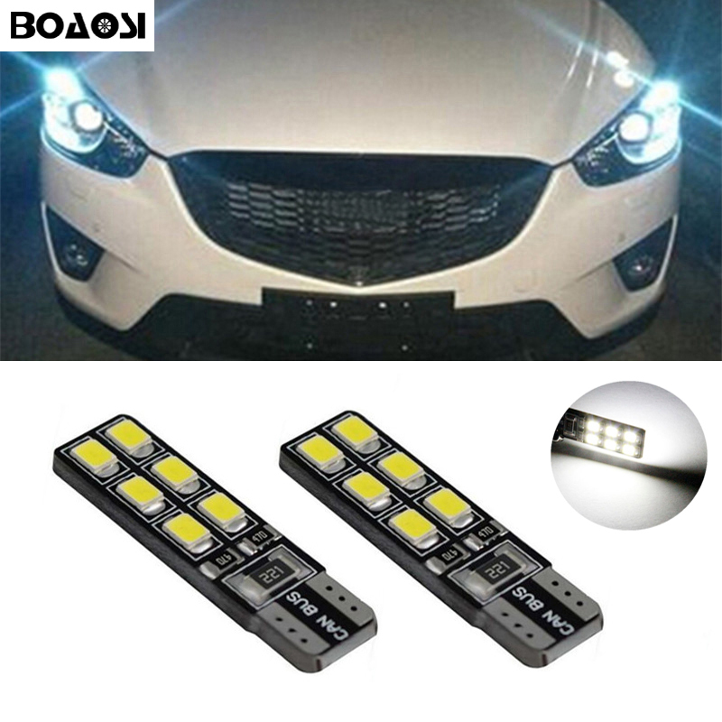 BOAOSI 2x New Car LED T10 Canbus W5W No error Wedge Light For mazda 3 6 emblem atenza spoiler cx7 rx8 cx-5 cx5 cx 5 6 3 Axela 2 x t10 led w5w car led auto lamp 12v light bulbs with projector lens for mazda 3 axela 6 atenza cx 5 cx5 cx 5 2 m3 drl parking