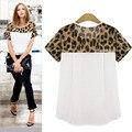 Camisas Blusas Femininas 2017 Mujeres de La Manera Impresión Del Leopardo Flojo Ocasional de La Gasa Corta Tops para Mujer Blusa Femenina Más Tamaño