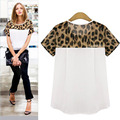 Camisas Femininas 2017 Fashion Women Blouses Leopard Printing Loose Chiffon Casual Short Tops for Women Blusa Feminina Plus Size