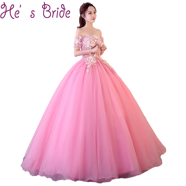 Evening Dress Sweet Pink Short Sleeves Boat Neck Lace Up Ball Gown ...