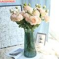 Искусственные цветы Пион Букет шелковых цветок свадебный букет осень яркие искусственные цветы розы для свадьбы домашний декор для вечери...
