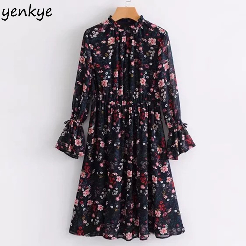 2018 Women Vintage Floral Printed Chiffon Dress Frill Stand Collar Flare Sleeve Elastic Waist Casual Summer Dress  RMGS9202