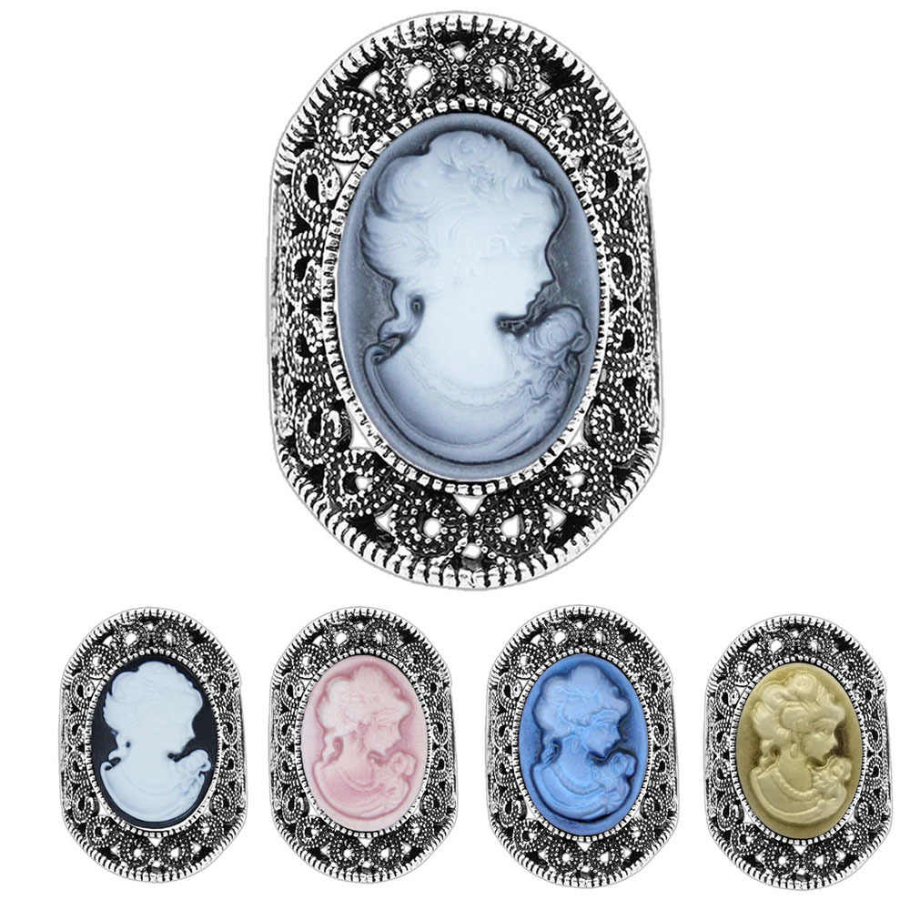 Lady Queen Cameo Rings For Women Vintage Hollow Flower Rings Antique Silver Plated Cocktail Party Vintage Jewelry