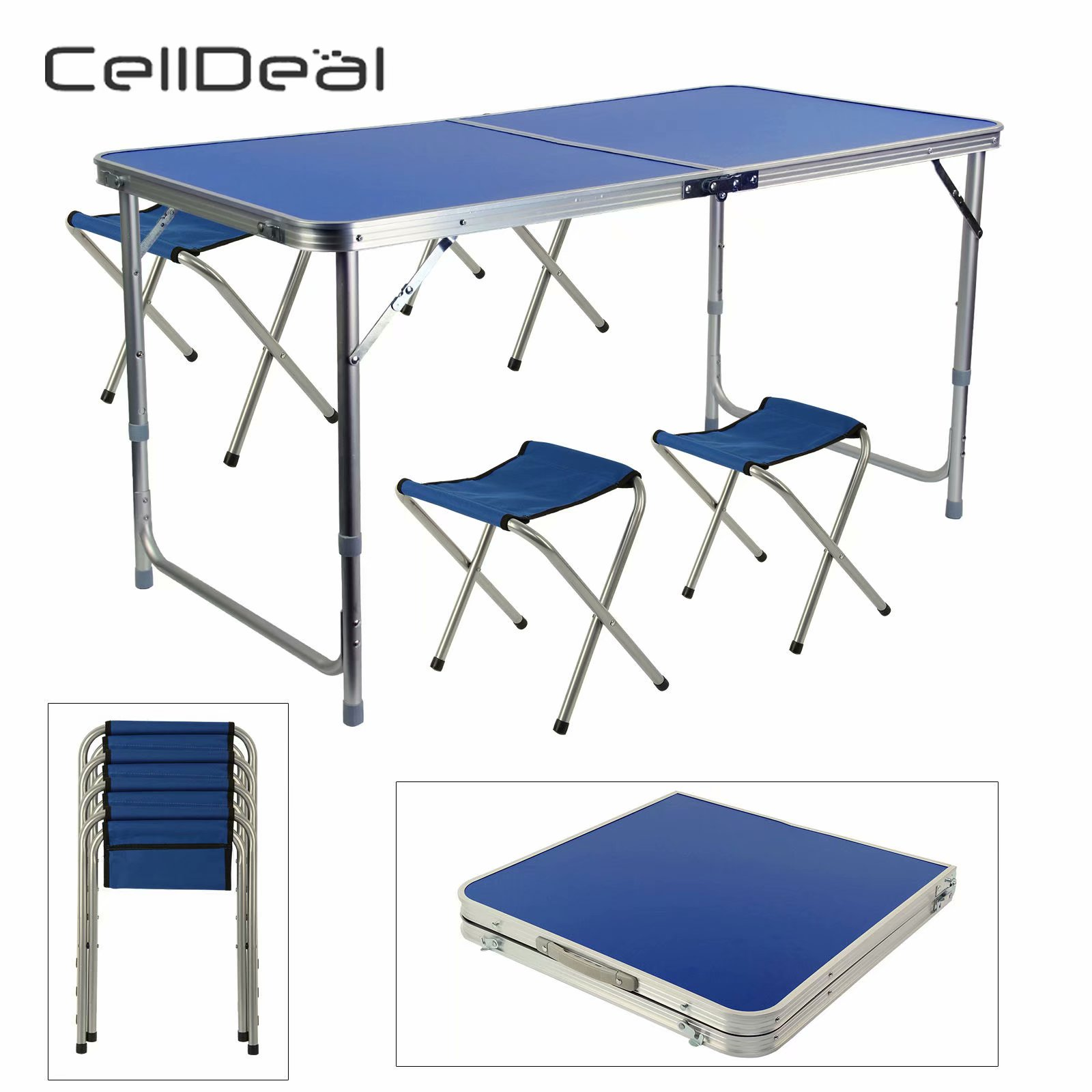 CellDeal Adjustable Portable Folding Table Laptop Desk With 4 Chairs Kit For Camping Party Picnic Garden Dining Outdoor