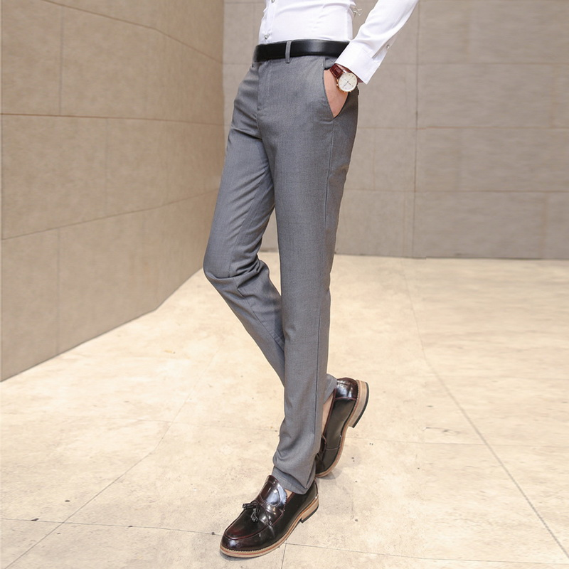 Litthing Suit Trousers Pants Business-Suit Slim-Fit Mens Male Hot High-Quality Pure-Color