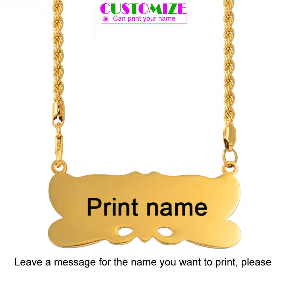 Anniyo Customize Name Pendant Twisted Chain for Men Women Personalise Marshall Guam Hawaii Islands Jewelry Micronesia #061221